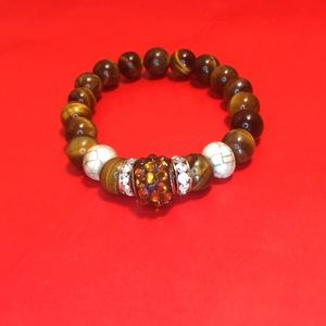 Brown tiger bread and white marble bracelet
